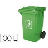 Cesto q-connect plastica 100l com capa verde 115x50x56 cms