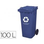Contentor q-connect em plastico com 2 rodas cor azul com capacidade para 100 litros