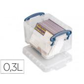 Contentor de plastico archivo 2000 0.30 litros 65x85120mm transparente com tampa e fecho hermetico