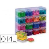 Organizador quadrado com 16 caixas de 0.14 l. cores sortidas