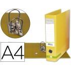 Pasta de arquivo liderpapel color system cartao forrado a4 2 aneis de 75 mm lombada de 80 mm sem caixa. amarelo
