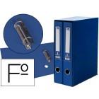 Modulo de 2 pastas de arquivo liderpapel de palanca cartao forrado folio lombada 75 mm com rado e porta cartoes cor azul
