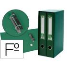 Modulo de 2 pastas de arquivo liderpapel de alavanca cartao forrado folio lomo 75 mm com rado e porta cartoes cor verde