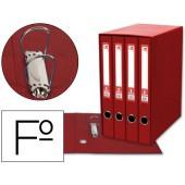 Modulo de 4 pastas de arquivo liderpapel 2 aneis folio lombada 35 mm vermelho