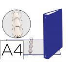 Carpeta de 4 anillas 30mm redondas exacompta din a4 carton forrado azul