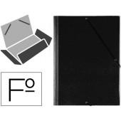 Pasta de elasticos com abas em plastico saro folio preta