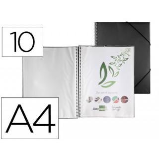 Capa catalogo liderpapel com espiral 10 bolsas polipropileno din a4 preto