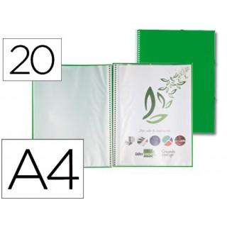 Capa catalogo liderpapel com espiral 20 bolsas polipropileno din-a4 verde