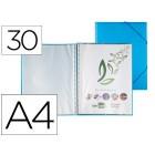 Capa catalogo liderpapel com espiral 30 bolsas polipropileno din-a4 azul