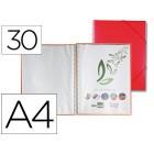 Capa catalogo liderpapel com espiral 30 bolsas polipropileno din-a4 vermelho