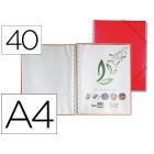 Capa catalogo liderpapel com espiral 40 bolsas polipropileno din-a4 vermelho