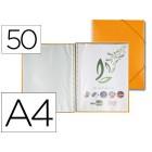 Capa catalogo liderpapel com espiral 50 bolsas polipropileno din-a4 laranja