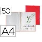 Capa catalogo liderpapel com espiral 50 bolsas polipropileno din-a4 vermelho