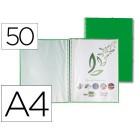 Capa catalogo liderpapel com espiral 50 bolsas polipropileno din-a4 verde