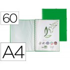 Capa catalogo liderpapel com espiral 60 bolsas polipropileno din-a4 verde