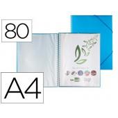 Capa catalogo liderpapel com espiral 80 bolsas polipropileno din-a4 azul