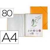 Capa catalogo liderpapel com espiral 80 bolsas polipropileno din-a4 laranja