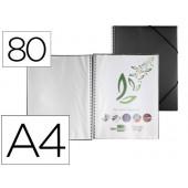 Capa catalogo liderpapel com espiral 80 bolsas polipropileno din a4 preto