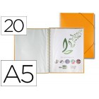 Capa catalogo liderpapel com espiral 20 bolsas polipropileno din a5 laranja