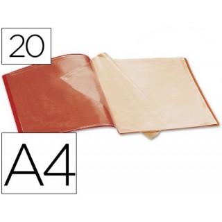 Capa catalogo liderpapel a4 com 20 bolsas. vermelha