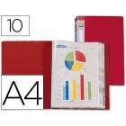 Capa catalogo liderpapel a4 com 10 bolsas. vermelha