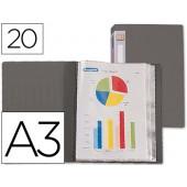 Capa catalogo beautone a3 com 20 bolsas. cinza transparente