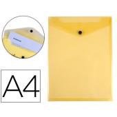 Bolsa porta documentos liderpapel polipropileno din a4 formato vertical amarela transparente 50 folhas