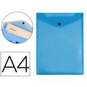 Bolsa porta documentos liderpapel polipropileno din a4 formato vertical azul transparente 50 folhas