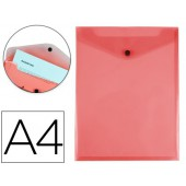 Bolsa porta documentos liderpapel polipropileno din a4 formato vertical vermelha transparente 50 folhas