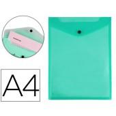 Bolsa porta documentos liderpapel polipropileno din a4 formato vertical verde transparente 50 folhas