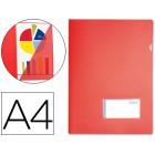 Bolsa dossier liderpapel a4 polipropileno vermelha com aba e porta etiqueta capacidade para 20 fls