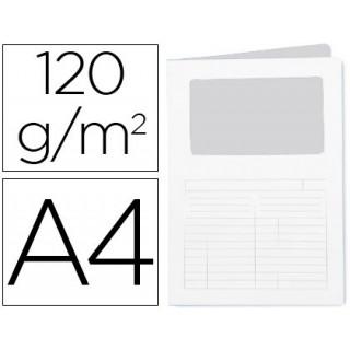 Classificador cartolina q-connect din a4 branco com janela transparente 120 gr